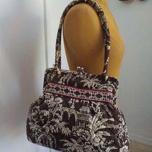 Vera Bradley Brown/White Snap-Close Shoulder Bag